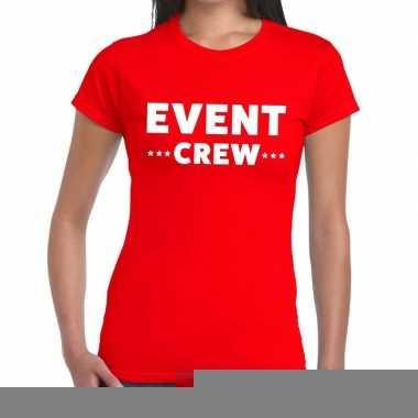 Goedkope evenement crew t shirt rood met event crew bedrukking voor d