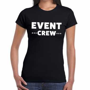 Goedkope evenement crew t shirt zwart met event crew bedrukking voor