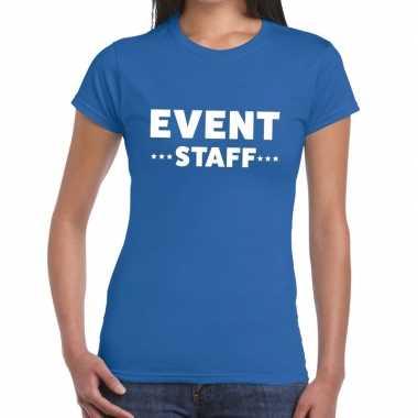 Goedkope evenement personeel t shirt blauw met event staff bedrukking