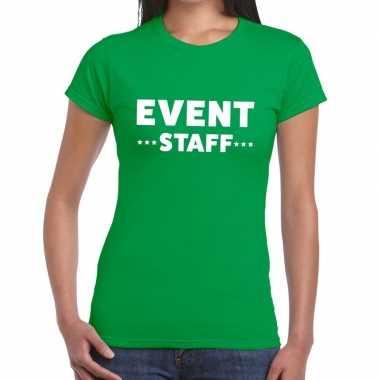 Goedkope evenement personeel t shirt groen met event staff bedrukking