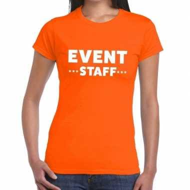 Goedkope evenement personeel t shirt oranje met event staff bedrukkin