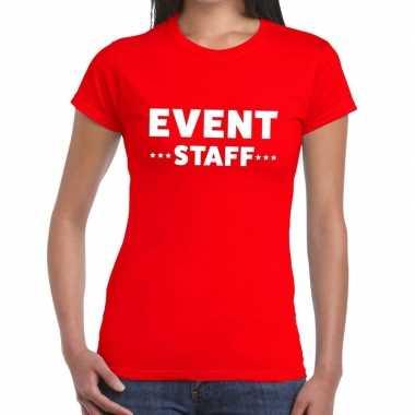 Goedkope evenement personeel t shirt rood met event staff bedrukking
