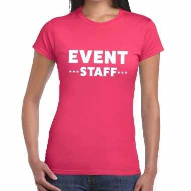 Goedkope evenement personeel t shirt roze met event staff bedrukking