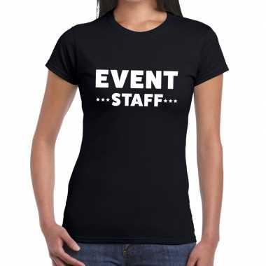 Goedkope evenement personeel t shirt zwart met event staff bedrukking