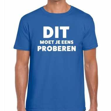 Goedkope evenementen tekst t shirt blauw met dit moet je eens probere