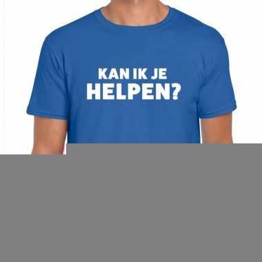 Goedkope evenementen tekst t shirt blauw met kan ik je helpen bedrukk