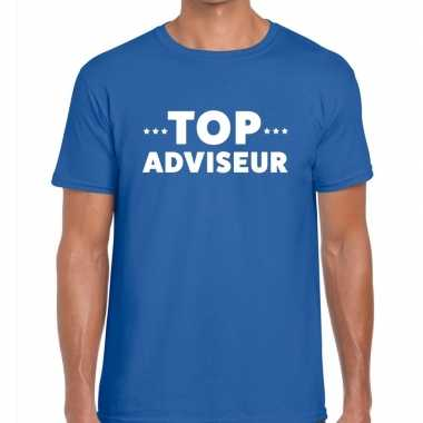 Goedkope evenementen tekst t shirt blauw met top adviseur bedrukking