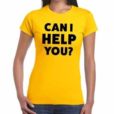 Goedkope evenementen tekst t shirt geel met can i help you bedrukking