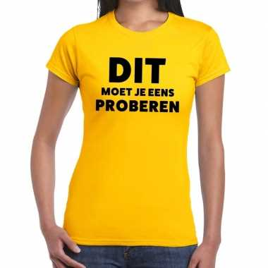 Goedkope evenementen tekst t shirt geel met dit moet je eens proberen