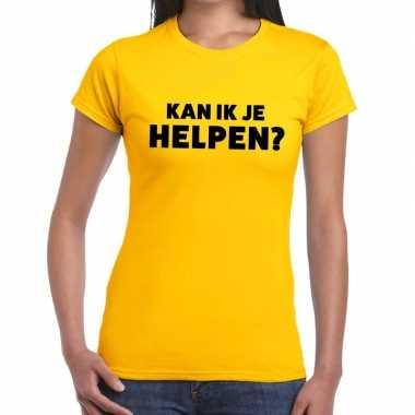 Goedkope evenementen tekst t shirt geel met kan ik je helpen bedrukki