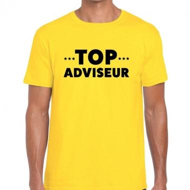 Goedkope evenementen tekst t shirt geel met top adviseur bedrukking v