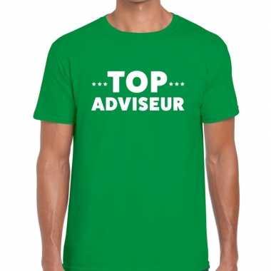Goedkope evenementen tekst t shirt groen met top adviseur bedrukking