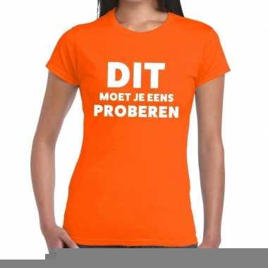 Goedkope evenementen tekst t shirt oranje met dit moet je eens prober