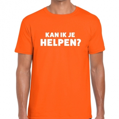 Goedkope evenementen tekst t shirt oranje met kan ik je helpen bedruk