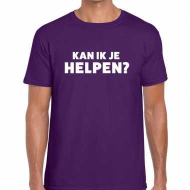 Goedkope evenementen tekst t shirt paars met kan ik je helpen bedrukk