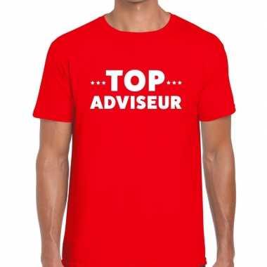 Goedkope evenementen tekst t shirt rood met top adviseur bedrukking v