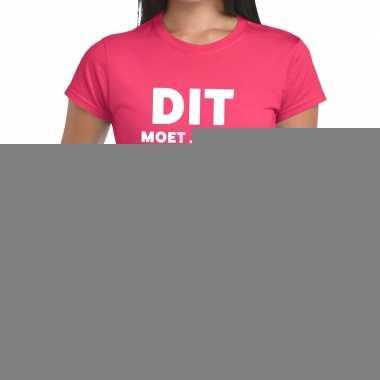 Goedkope evenementen tekst t shirt roze met dit moet je eens proberen