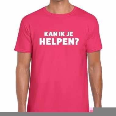 Goedkope evenementen tekst t shirt roze met kan ik je helpen bedrukki