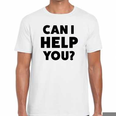 Goedkope evenementen tekst t shirt wit met can i help you bedrukking