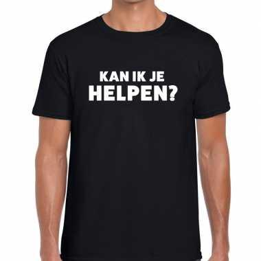Goedkope evenementen tekst t shirt zwart met kan ik je helpen bedrukk