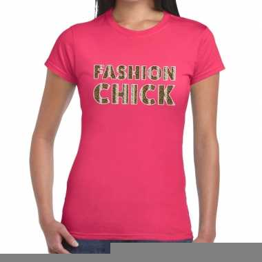 Goedkope fashion chick slangen print fun t shirt roze voor dames