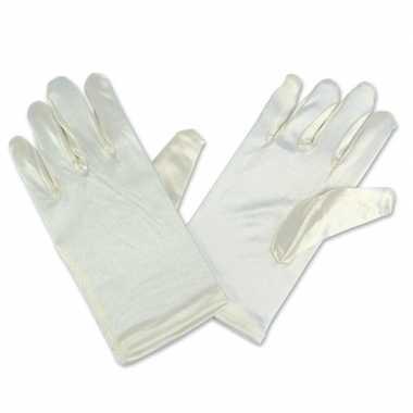 Goedkope feest handschoenen ivoor/wit satijn voor kinderen