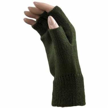 Goedkope feest vingerloze groene polsmofjes/handschoenen voor volwass