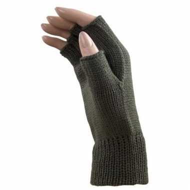 Goedkope feest vingerloze khaki groene polsmofjes/handschoenen voor v