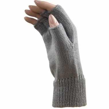 Goedkope feest vingerloze licht grijze polsmofjes/handschoenen voor v