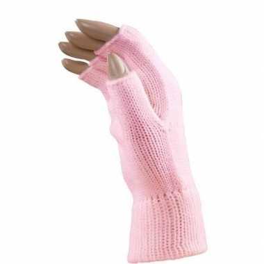 Goedkope feest vingerloze lichtroze polsmofjes/handschoenen voor volw