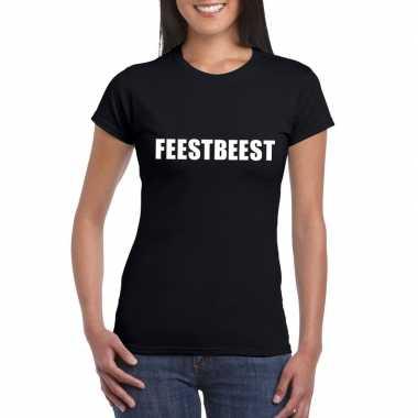 Goedkope feestbeest fun t shirt zwart voor dames