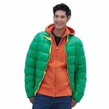 Goedkope fel groene jas met dons voor heren