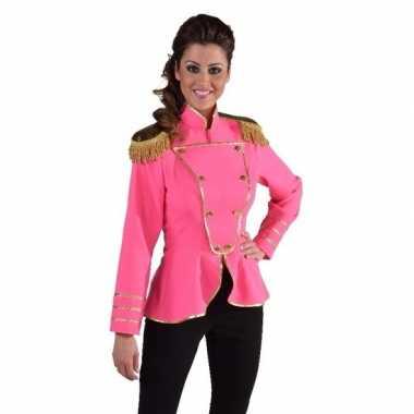 Goedkope fel roze kostuum jas voor dames