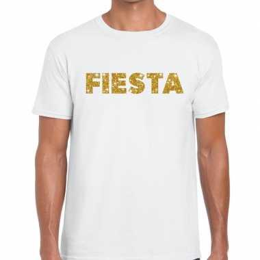 Goedkope fiesta goud tekst fun t shirt wit voor heren