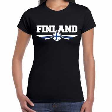 Goedkope finland landen shirt met finse vlag zwart voor dames