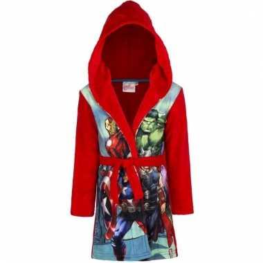 Goedkope fleece badjas avengers rood voor jongens