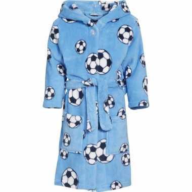 Goedkope fleece badjas lichtblauw voetbalprint voor jongens