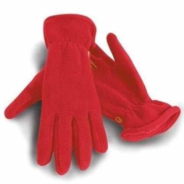 Goedkope fleece handschoenen rood voor volwassenen