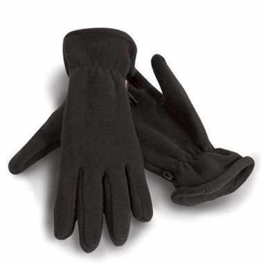 Goedkope fleece handschoenen zwart voor volwassenen