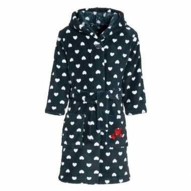 Goedkope fleece kinder badjassen/ochtendjassen blauw met hartjes voor