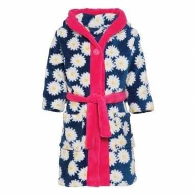 Goedkope fleece kinder badjassen/ochtendjassen bloemenprint voor meis