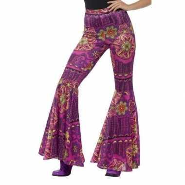 Goedkope flower power broek paars/roze voor dames