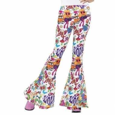 Goedkope flower power broek wit voor dames