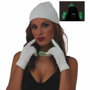 Goedkope fluoriderend verkleed handschoenen wit voor dames