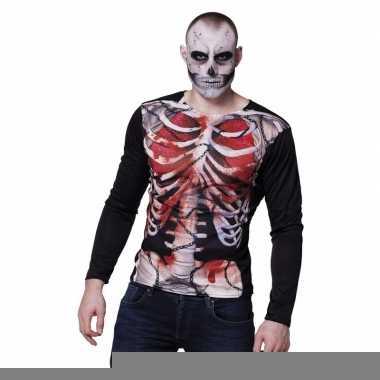 Goedkope fotorealistische zombie skelet shirt