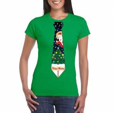 Goedkope fout kerst shirt groen kerstboom stropdas voor dames