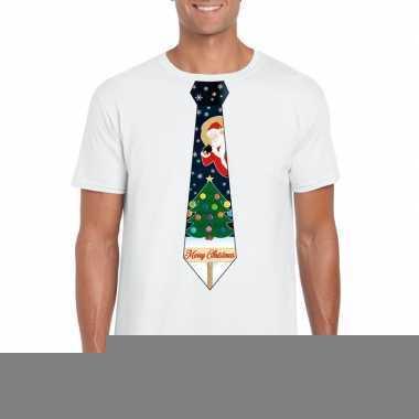 Goedkope fout kerst shirt wit kerstboom stropdas voor heren