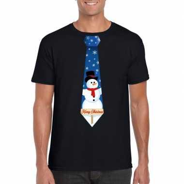 Goedkope fout kerst shirt zwart sneeuwman stropdas voor heren