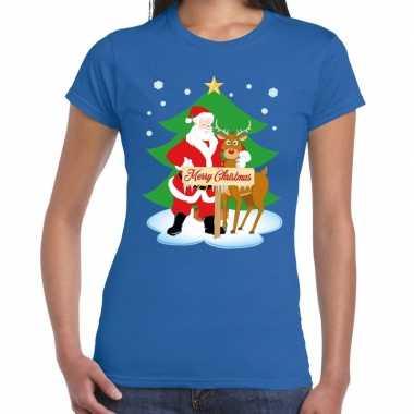 Goedkope fout kerstmis shirt blauw met de kerstman en rudolf voor dam