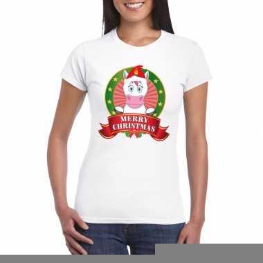 Goedkope fout kerstmis shirt met eenhoorn voor dames